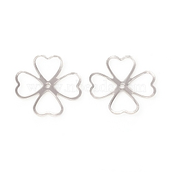 4-Petal Brass Bead Caps, Long-Lasting Plated, Clover, Platinum, 18x18x1mm, Hole: 1mm(X-KK-I669-16P)