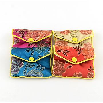 Rectangle Cloth Zip Pouches, Bag, Purse, Mixed Color, 7x8cm(X-ABAG-R009-7x8)