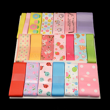 Printed Mixed Ribbon Sets: Grosgrain Ribbons, Satin Ribbons and Organza Ribbons, Mixed Color, 3/8 inches~1-1/2 inches(9~38mm), about 1yards/roll(0.9144m/roll), 20rolls/bag(OCOR-R029-04)