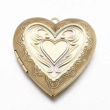 Brass Locket Pendants, Heart, Brushed Antique Bronze, 42.5x40x9mm, Hole: 2mm(X-KK-N0116-001AB)