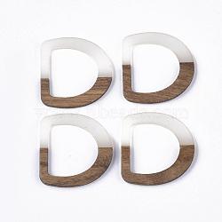 anneaux de liaison en résine transparente et bois, anneau en d, whitesmoke, 38.5x37.5x3~4 mm, trou: 25~26x24~25 mm(X-RESI-Q210-012A-B03)
