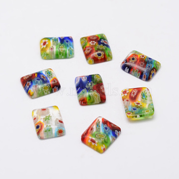 Handmade Millefiori Glass Cabochons, Rectangle, Mixed Color, 15x12x3mm(X-LAMP-G121-29)