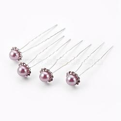 Accessoires de cheveux de dame, fourches à cheveux boule en fer plaqué argent, avec perles en plastique imitation abs et strass, oldrose, 75~76mm(PHAR-XCP0002-A-01)