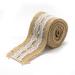 Burlap Ribbon, Hessian Ribbon, Jute Ribbon, with Lace, for Jewelry Making, Tan, 2 inches(50mm); about 2.187yards/roll(2m/roll), 12rolls/bag(OCOR-R071-09)