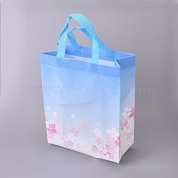 Gloss Lamination Printing Eco-Friendly Reusable Bags, Non Woven Fabric Shopping Bags, Handle Random Color, SkyBlue, 26.75x12.55x32.9cm(ABAG-L004-T02)