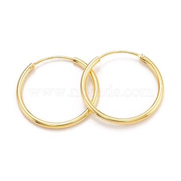 925 Sterling Silver Hoop Earrings, Ring, Real 18K Gold Plated, 24x1.7mm, Pin: 0.6mm(EJEW-H110-02G-B)