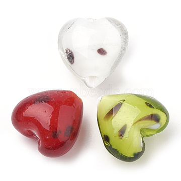 Handmade Lampwork Beads, Heart, Mixed Color, 20~21x20~20.5x13.5~14.5mm, Hole: 1.5mm(X-LAMP-S188-05)