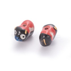 Perles de porcelaine imprimées manuelles, vache, noir, 11~13x16~19x10~12mm, Trou: 1.4mm(PORC-E015-10A)