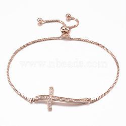 """Bracelets réglables en laiton avec zircone cubique à micro-pavé, bracelets bolo, croix, or rose, 10-1/4"""" (260 mm); 1.2mm(BJEW-E317-43RG)"""