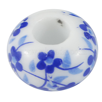 Handmade Porcelain European Beads, Large Hole Beads, No Matal Core, Rondelle, Royal Blue, Size: about 15mm in diameter, 9mm thick, hole: 6mm(X-PORC-R004-3)