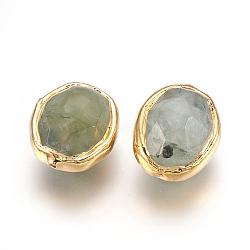 Perles de prehnite naturelles, bord plaqué or, facette, ovale, 20.5~21x17~17.5x12.5~13.5mm, Trou: 1.2mm(G-P403-I01-G)