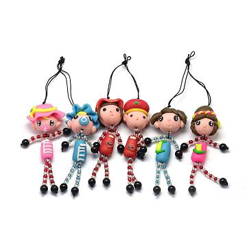 Handmade Polymer Clay Human Mobile Accessories, with Polyester Straps and Seed Beads, Mixed Color, 170~180mm(MOBA-Q009-01)