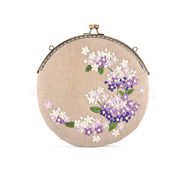 SHEGRACE Corduroy Women Evening Bag, with Embroidered Milk Cotton Flowers, Alloy Flower Purse Frame Handle, Alloy Twisted Curb Chain, MistyRose, 210mm(JBG008B-01)