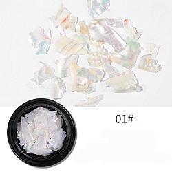 coquilles d'ormeau / coquilles de paua, pour faux ongles gel acrylique et uv, décoration de flocons d'ongles, beige, 4 cm; 2 g / boîte(MRMJ-Q034-012A)