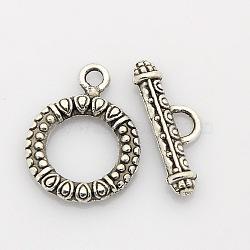 style tibétain fermoirs bague en alliage à bascule, argent antique, anneau: 22x17x2.5 mm, trou: 2 mm, bar: 22x8x2 mm, trou: 2 mm(PALLOY-J471-12AS)
