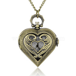 Textured Heart Alloy Quartz Pocket Watches, with Iron Chains and Lobster Claw Clasps, Antique Bronze, 32.2 inches; Watch Head: 53x41x14mm; Watch Face: 26mm(WACH-N039-16AB)
