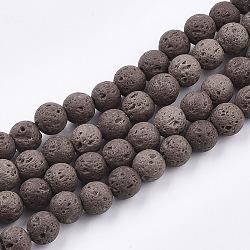 Chapelets de perles de lave naturelle, teint, rond, coconutbrown, 8~8.5mm, Trou: 1mm(X-G-S247-8mm-06)