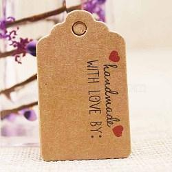 Étiquettes-cadeaux en papier, étiquettes de suspension, pour les arts et l'artisanat, pour le mariage, La Saint-Valentin, rectangle avec mot fait main avec amour, burlywood, 50x30x0.4mm, Trou: 5mm(CDIS-P001-H03-A)