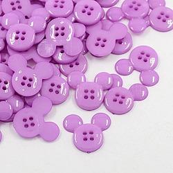 Boutons en plastique acrylique, boutons de couture, 4-trou, teint, tête de souris, mediumorchid, 22x20x3mm, Trou: 1mm(X-BUTT-E062-04)