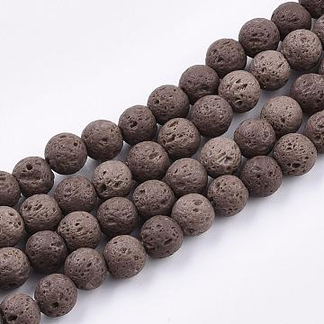 Natural Lava Rock Beads Strands, Dyed, Round, Coconut Brown, 8~8.5mm, Hole: 1mm(X-G-S247-8mm-06)