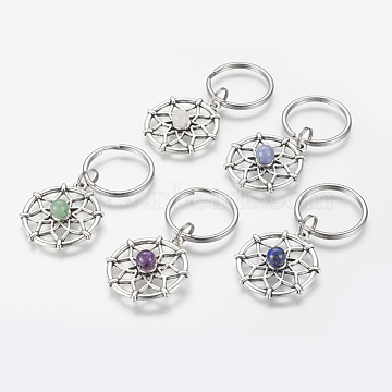 Alloy Gemstone Keychain, with 316 Surgical Stainless Steel Key Ring, 58mm(X-KEYC-JKC00143)