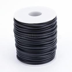 Corde en caoutchouc synthétique solide tubulaire de PVC, sans trou, enroulé aurond de plastique blanc bobine, noir, 2 mm; environ 30 m/rouleau(RCOR-R008-2mm-30m-09)