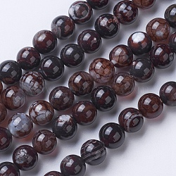 Natural Agate Beads Strands, Dyed & Heated, Grade A, Round, Coffee, 6mm, Hole: 1mm; about 62pcs/strand, 14.9''(38cm)