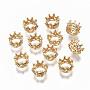 Clear Crown Brass+Cubic Zirconia Beads(KK-R114-03-NF)