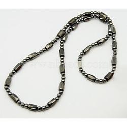 """Магнитные ожерелья гематита, с застежками из латуни , темно-серый, размер : длиной около 19.8"""" , бусины : около 4~5 mm шириной, 3~8 мм.(X-NJEW-Q009)"""
