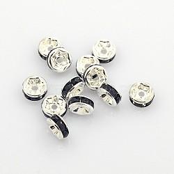 латунные горный хрусталь Spacer бисер, класс, черный, серебристый цвет, никель свободный, размер: около 6 mm в диаметре, 3 mm; отверстия: 1 mm(X-RSB036NF-04)