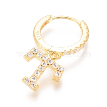 925 Sterling Silver Hoop Earrings, Dangle Earrings, with Cubic Zirconia, Carved with S925, Letter, Clear, Golden, Letter.T, 19mm; Pendants: about 8.5X8X1.5mm; Pin: 0.6mm(EJEW-D251-T-G)