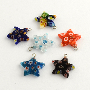 Handmade Millefiori Glass Pendants with Platinum Plated Iron Findings, Star, Mixed Color, 22x21x4mm, Hole: 2mm(LK-R005-12)