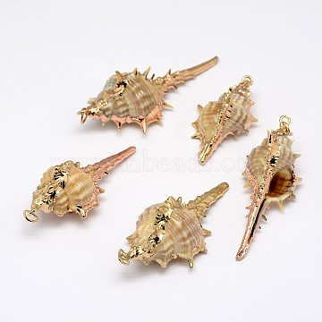 Golden Electroplated Conch Shell Pendants, Mixed Color, 18~54x13~25x12~23mm, Hole: 2mm(X-BSHE-M016-03)