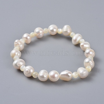 Natural Pearl Stretch Bracelets For Daughter Bracelets, with Shell Beads and Cardboard Jewelry Boxes, 1-3/4 inches(4.5cm)(X-BJEW-JB04366-01)