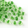 16mm Green Heart Lampwork Beads(LAMP-R126-16mm-06)