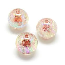 Perles acryliques craquelées, couleur ab, couleur à l'intérieur , rond, chameau, 18mm, trou: 4 mm; environ 150 pcs / 500 g(MACR-S825-18mm-B)