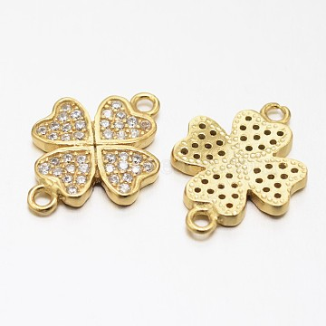 Clover 925 Sterling Silver Micro Pave Cubic Zirconia Links, Golden, 12.5x18x2mm, Hole: 1mm(STER-F011-016G)