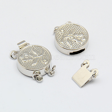 Brass Box Clasps for Bracelet Making, Nickel Free, Flat Round with Flower, Platinum, 18x13x4mm, Hole: 2mm(X-KK-F0227-P-NF)