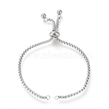 Adjustable 304 Stainless Steel Slider Bracelet/Bolo Bracelets Making, with Box Chains, Stainless Steel Color, 10-1/8 inch(25.6cm), 2.5mm(X-STAS-I153-02P)