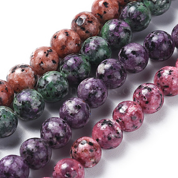 Natural Labradorite Beads Strands, Dyed & Heated, Round, Mixed Color, 8mm, Hole: 1.2mm; about 47pcs/strand, 14.9''(38cm)(G-G796-01B)