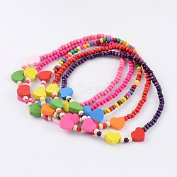 Lovely Heart Wood Beaded Kids Necklaces, Mixed Color, 16inches(NJEW-JN01347)