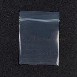 Sacs en plastique à fermeture éclair, petits sacs de rangement refermables de bijoux auto-scellent les sacs poly, joint haut, rectangle, blanc, 5x4cm; 100pcs / sac; épaisseur unilatérale: 0.1 mm, mesure intérieure: 3.8x4.3 cm; 100pcs / sac(OPP-G001-B-4x5cm)