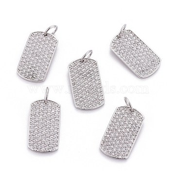 Brass Micro Pave Cubic Zirconia Pendants, with Jump Rings, Rectangle, Clear, Platinum, 16x9x1.5mm, Hole: 3.5mm(X-ZIRC-L070-42P)