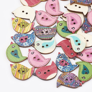 2-Hole Printed Wooden Buttons, Lead Free, Bird, Mixed Color, 23x15.5x2.5mm, Hole: 1.6mm(X-BUTT-T001-02-LF)