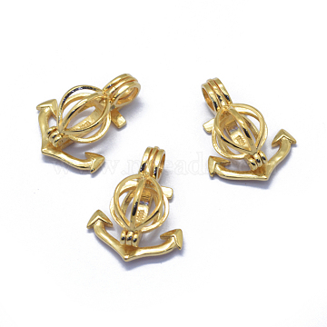 925 Sterling Silver Cage Pendants, Anchor, Golden, 22.5x18x10mm, Hole: 5x3mm, Inner Diameter: 8.5x8mm(STER-L055-046G)