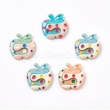 (Дефектная распродажа), cmолы кабошонов, яблоко, cmешанный цвет, 27~27.5x27~27.5x6.5~7.5 mm(CRES-XCP0000-01)