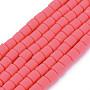 Deep Pink Column Polymer Clay Beads(CLAY-ZX006-01F)