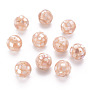 Resin Beads, with Natural Pink Shell, Round, PeachPuff, 14.5mm, Hole: 1mm