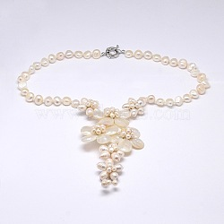 Flower Pearl Bib Statement Necklaces, with Brass Spring Ring Clasps and Shell Beads, PapayaWhip, 19.2inches(NJEW-N0014-36)