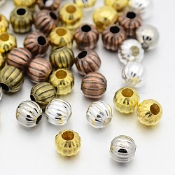 Perles ondulées en fer, rond, couleur mixte, 8mm, trou: 3 mm; environ 354 pcs / 200 g(IFIN-X0030-8mm)